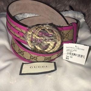 Authentic Gucci interlocking GG Guccissima belt 85
